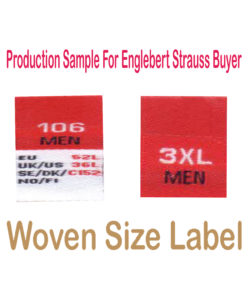 Woven Size LAbel engle